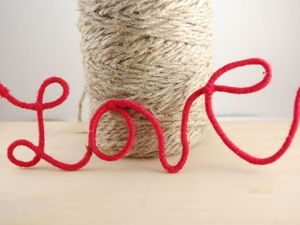 "Festive Decorations: ""Love"" Inscription of Wire and Thread. Livemaster - handmade"