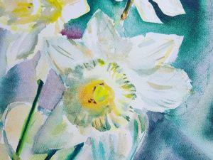 Аукцион сегодня! Акварель:  «Нарциссы» . Ярмарка Мастеров - ручная работа, handmade.