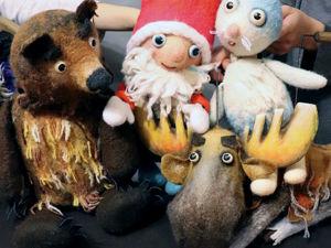 Маленький Дед Мороз, Медведь, Заяц, Сова, Лось. Видео. Куклы в театре. Ярмарка Мастеров - ручная работа, handmade.