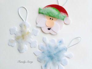 Самая простая новогодняя поделка: Дед Мороз и снежинки. Ярмарка Мастеров - ручная работа, handmade.