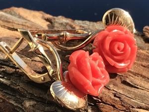 Резной коралл (серьги, кольцо). Ярмарка Мастеров - ручная работа, handmade.