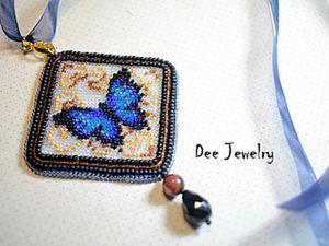 Вышиваем бисером по канве кулон «Синяя бабочка». Ярмарка Мастеров - ручная работа, handmade.