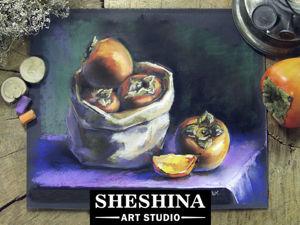 Видеоурок: рисуем сухой пастелью натюрморт с хурмой. Ярмарка Мастеров - ручная работа, handmade.