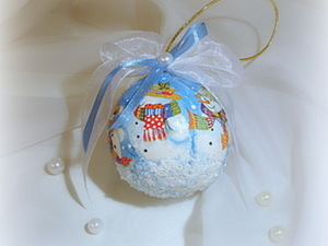 "Шар на елку ""Семейство снеговиков"". Ярмарка Мастеров - ручная работа, handmade."