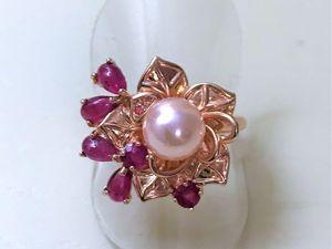 Виделролик: позолоченное кольцо из серебра с натуральным жемчугом  «Каприз». Ярмарка Мастеров - ручная работа, handmade.