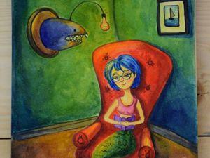 """Видео мастер-класс: """"Читающая русалочка"""" — скетч акварелью. Speed Painting. Ярмарка Мастеров - ручная работа, handmade."""