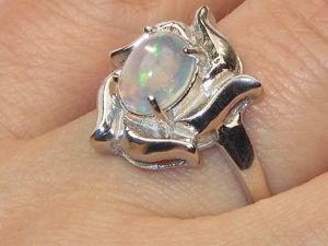 Кольцо с опалом серебряное. Ярмарка Мастеров - ручная работа, handmade.