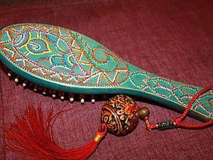 Деревянная щетка-расческа. Точечная роспись.. Ярмарка Мастеров - ручная работа, handmade.