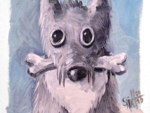 День 245. Этюд маслом  «Маленькая собака». Ярмарка Мастеров - ручная работа, handmade.