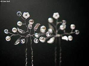 Создаем нежные шпильки для свадебной прически. Ярмарка Мастеров - ручная работа, handmade.