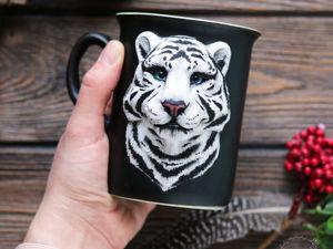 Процесс создания кружки с белым тигром. Ярмарка Мастеров - ручная работа, handmade.