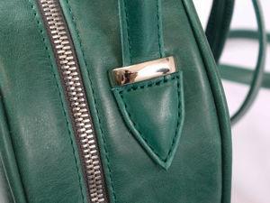 Изумрудный рюкзачок из кожи crazy horse. Ярмарка Мастеров - ручная работа, handmade.