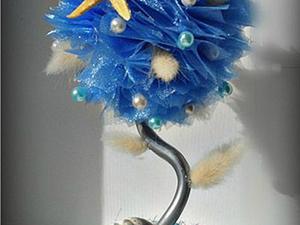 """Делаем топиарий """"Морской бриз"""" из органзы. Ярмарка Мастеров - ручная работа, handmade."""