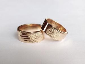 Обручальные кольца с крыльями Ангела из золота под заказ. Видео. Ярмарка Мастеров - ручная работа, handmade.