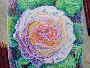 Картина с розой  « Сияние Розы »  Цветные карандаши. Ярмарка Мастеров - ручная работа, handmade.
