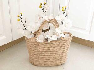 Вяжем сумку-корзину крючком. Ярмарка Мастеров - ручная работа, handmade.