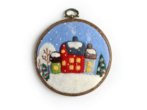 Creating a Miniature Winter Picture with Felted Snowfall and Embroidered Village. Livemaster - handmade
