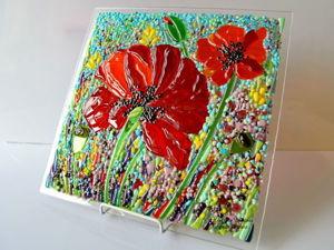 Создаем панно «Маки»: творим из стекла в технике фьюзинг. Ярмарка Мастеров - ручная работа, handmade.