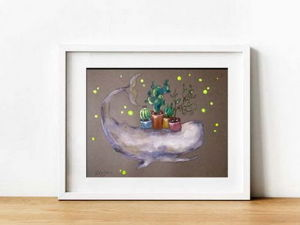 Распродажа! Графика  «Кит с растениями»  за 500руб!. Ярмарка Мастеров - ручная работа, handmade.