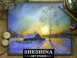 Рисуем зимний пейзаж с избушкой в лучах заходящего солнца сухой пастелью. Ярмарка Мастеров - ручная работа, handmade.