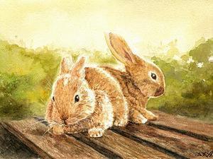"""Рисуем картину """"Кролики"""" акварелью. Ярмарка Мастеров - ручная работа, handmade."""