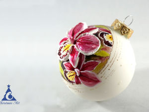 Орхидея: роспись елочного шарика витражными красками. Ярмарка Мастеров - ручная работа, handmade.