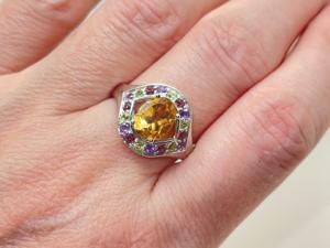 Кольцо с цитрином, самоцветами серебряное. Ярмарка Мастеров - ручная работа, handmade.