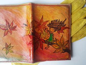 Обновляем старую обложку для паспорта с помощью рисунка Девочки-Осени. Ярмарка Мастеров - ручная работа, handmade.
