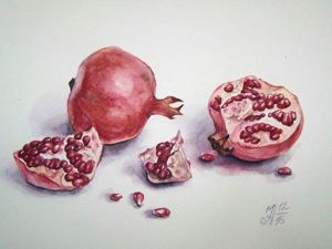 Рисуем гранаты акварелью: видеоурок. Ярмарка Мастеров - ручная работа, handmade.