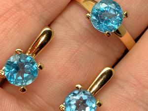Серьги и кольцо с топазом голубым серебряные. Ярмарка Мастеров - ручная работа, handmade.