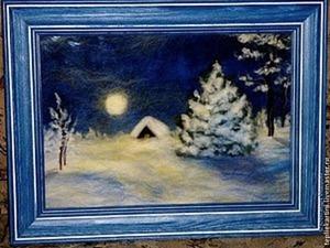 Рисуем шерстью картину «Зимняя ночь». Ярмарка Мастеров - ручная работа, handmade.