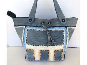 Вяжем сумку с джинсовыми вставками: видеоурок. Ярмарка Мастеров - ручная работа, handmade.