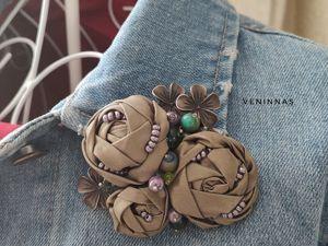 Мастерим текстильную брошь в стиле Бохо. Розочки из ткани. Ярмарка Мастеров - ручная работа, handmade.