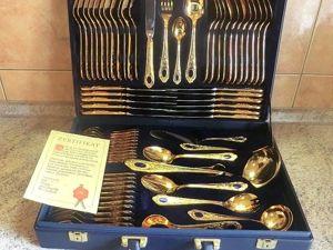 Роскошь! Набор столовых приборов OLYMPIA в золоте на 12 персон. 70 предметов. Ярмарка Мастеров - ручная работа, handmade.
