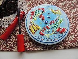 """Зеркальце с рельефным узором """"аквариум в кармане"""". Ярмарка Мастеров - ручная работа, handmade."""