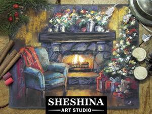 Видеоурок: рисуем новогодний камин сухой пастелью. Ярмарка Мастеров - ручная работа, handmade.