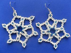 Плетем новогодние сережки-снежинки в технике макраме. Ярмарка Мастеров - ручная работа, handmade.