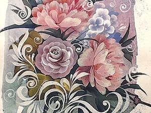 Роспись цветов, смешанная техника.. Ярмарка Мастеров - ручная работа, handmade.