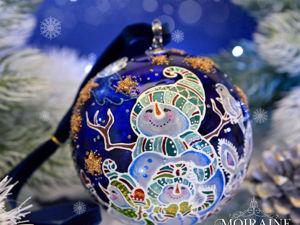 Видео. Елочный шар  «Снеговички». Ярмарка Мастеров - ручная работа, handmade.