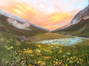 Как нарисовать картину маслом  «Закат в горах». Ярмарка Мастеров - ручная работа, handmade.