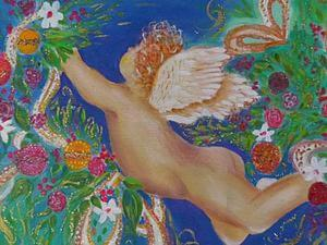 Расписываем декоративную подушечку новогодним сюжетом «Ангелочек». Ярмарка Мастеров - ручная работа, handmade.