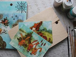 Декупаж разделочный доски с помощью открытки. Ярмарка Мастеров - ручная работа, handmade.