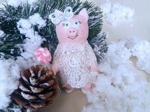 Видео мастер-класс: Винтажная свинка на ёлку из папье-маше. Ярмарка Мастеров - ручная работа, handmade.