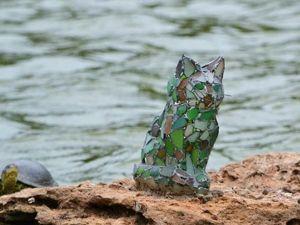 Делаем витражную статуэтку котика из морского стекла. Ярмарка Мастеров - ручная работа, handmade.