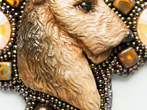 Лейкленд-терьер. Кулон из бисера с кристаллами. Ярмарка Мастеров - ручная работа, handmade.