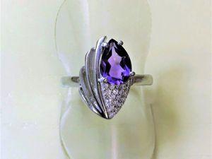 Видеоролик: кольцо с крупным натуральным аметистом 9х6 мм «Бутон». Ярмарка Мастеров - ручная работа, handmade.