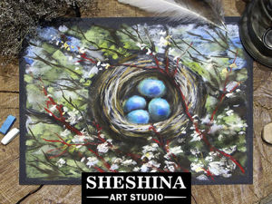 Video Tutorial: Drawing a Nest on a Tree in Blossom with Dry Pastel. Livemaster - handmade