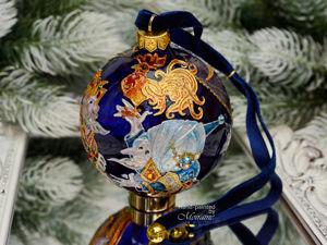 Видео стеклянного елочного шара  «Сказка о золотом петушке». Ярмарка Мастеров - ручная работа, handmade.