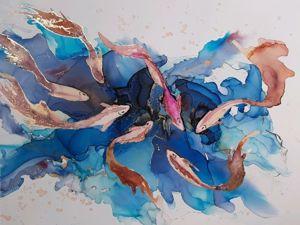 Обзор картины  «Золотые рыбки». Ярмарка Мастеров - ручная работа, handmade.