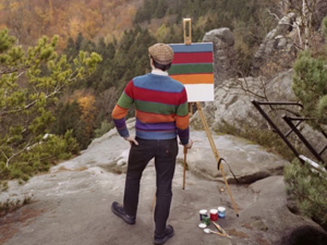 Plein-air Idea: Inspired by the Landscapes of the Great, the Artist Hank Schmidt In Der Beek Captures the Patterns of His Shirt on Canvas. Livemaster - hecho a mano - handmade.